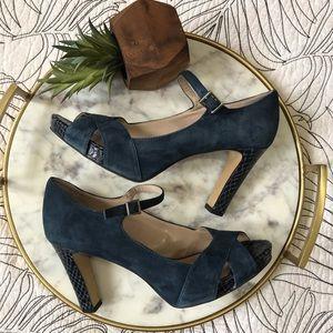 Franco Sarto • Blue Peep Toe Strap Leather Pumps